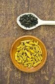 Green Indian Tea And Dry Turmeric Root In Wooden Plate