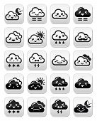 Cute Kawaii clouds with different expressions - happy, sad, angry