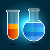 Education Chemistry Themed Infographic with Flasks.  Vector