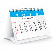 February 2015 desk calendar - vector illustration