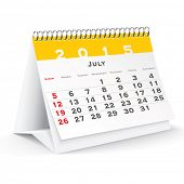July 2015 desk calendar - vector illustration