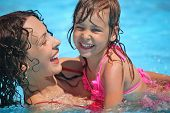Smiling Beautiful Woman And Little Girl Bathes In Pool In Aquapark