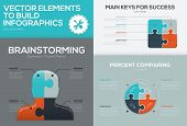 Business jigsaw vector infographic set and puzzle piece concept