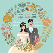 Cute wedding invitation with groom,bride,autumn leaves wreath
