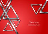 Abstract tech geometry metallic triangles background. Vector design template