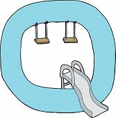 image of swingset  - Isolated letter Q as a playground on white background - JPG