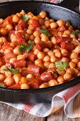 Chickpeas With Chorizo And Vegetables In Tomato Sauce