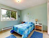 Aqua Tones Small Bedroom With Single Bed