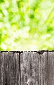 Empty Rustic Wooden Board With Abstract Summer Background