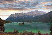 Lake Eibsee And Zugspitze, Bavarian Landscape