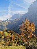 Karwendel Valley And Mountains, Austrian Autumn Landscape