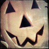 Instagram filtered image of a vintage plastic jack o lantern