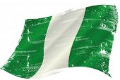 waving nigerian grunge flag. flag of  Nigeria in the wind with a texture