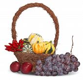 Thanksgiving Basket With Grapes, Apples And Pumpkins