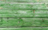 Old Wooden Wall, Painted In Green Color
