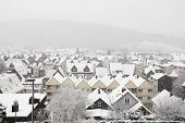Snowcapped Houses In German Town