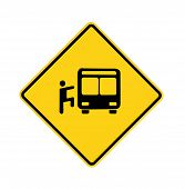 Road Sign - Yellow - Rider And Bus
