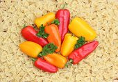 Mixed Peppers On Noodle Background