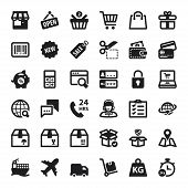 Shopping Online Flat Icons. Black