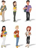 Group of cartoon young students. Teenagers.
