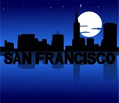 San Francisco skyline reflected with text and moon vector illustration