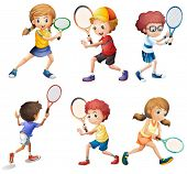 Illustration of children with different positions of playing tennis