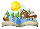 stock photo of pop up book  - Illustration of a popup christmas book - JPG