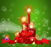 Ilustration of candles and ribbon with green background