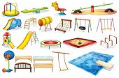 stock photo of playground  - Ilustration of a set of equipment in a playground - JPG