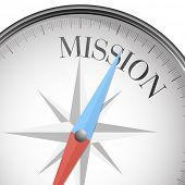 detailed illustration of a compass with mission text, eps10 vector