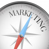 detailed illustration of a compass with marketing text, eps10 vector
