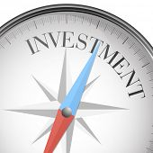 detailed illustration of a compass with investment text, eps10 vector