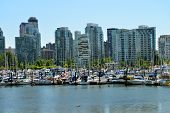 Vancouver downtown marina and skyline