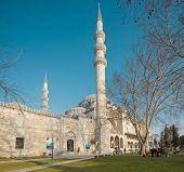 ISTANBUL,TURKEY - JAN 11: Tourists visiting Suleymaniye Mosque on January 11, 2014. Suleymaniye Mosq