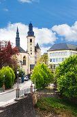Saint Michael's Church near street in Luxemburg
