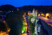 Dent Creuse and traffic jam at night, Luxembourg