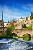 Luxembourg on Alzette river with course in summer