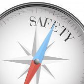 detailed illustration of a compass with safety text, eps10 vector