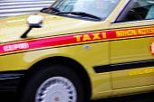 Taxi Speeding in motion tokyo, japan
