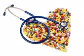 picture of placebo  - stethoscope and tablets in heart - JPG