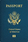 vector blue leather USA passport cover