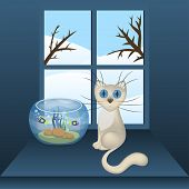 Cartoon white cat and aquarium with fishes