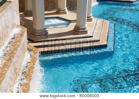 Exotic Luxury Swimming Pool Water, Hot Tub and Architecture Abstract. poster