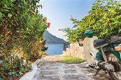 Retro street scooter on Greek Kalymnos island
