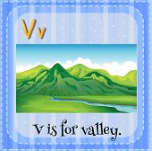 Illustration of an alphabet V is for valley