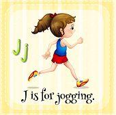 Illustration of an alphabet J is for jogging
