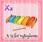 Illustration of an alphabet X is for xylophone