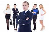Young Successful Business Man And His Woman Team Isolated On White