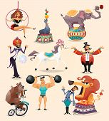 pic of decorative  - Circus performance decorative icons set with athlete animals magician vector illustration - JPG