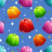 Seamless pattern with jelly molds